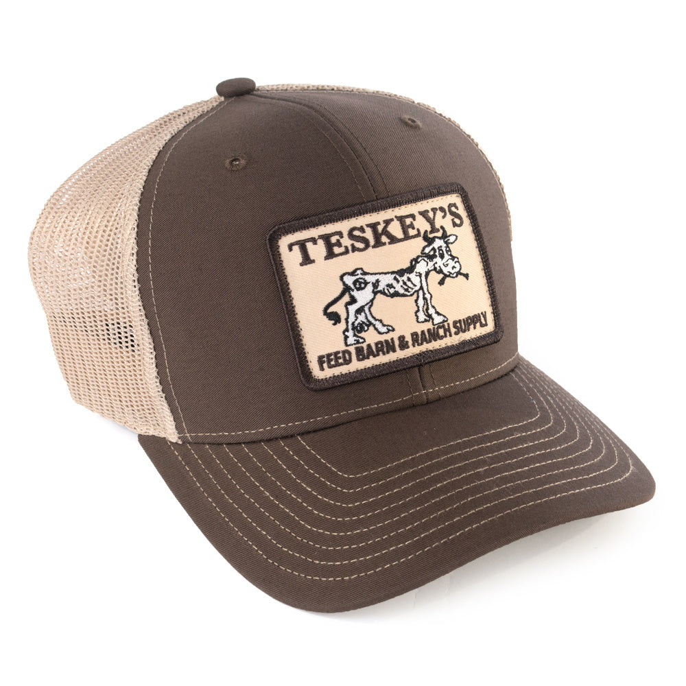 Teskey's Feed Barn Cow Cap - Chocolate/Tan TESKEY'S GEAR - Baseball Caps RICHARDSON Teskeys