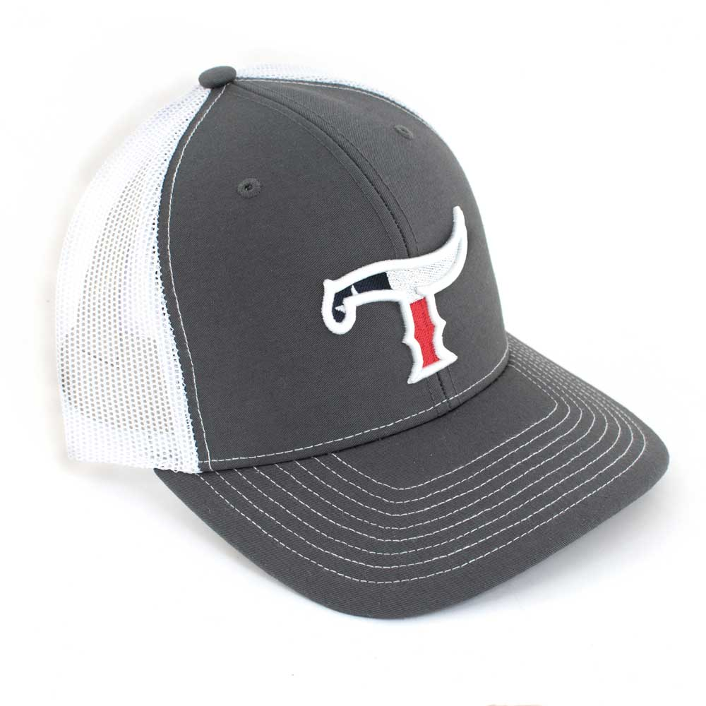 Teskey's T Logo Cap - Grey/Charcoal - Texas Flag Logo TESKEY'S GEAR - Baseball Caps Teskey's Teskeys