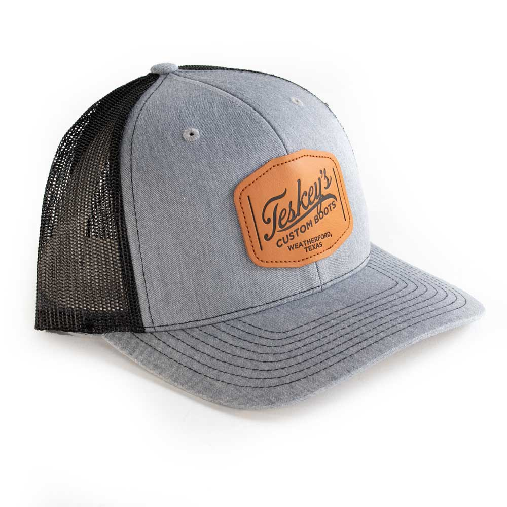 Teskey's Leather Patch Cap - Heather Grey/Black TESKEY'S GEAR - Baseball Caps RICHARDSON Teskeys