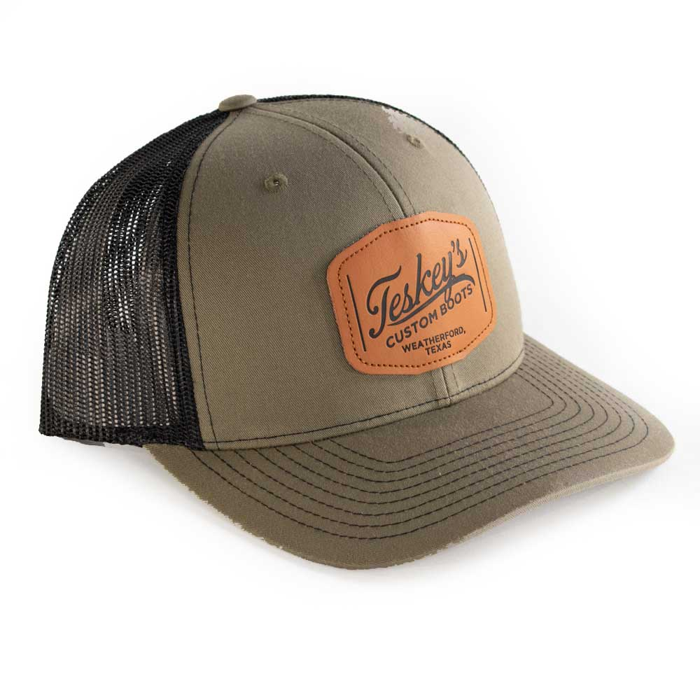 Teskey's Leather Patch Cap - Olive/Black TESKEY'S GEAR - Baseball Caps RICHARDSON Teskeys