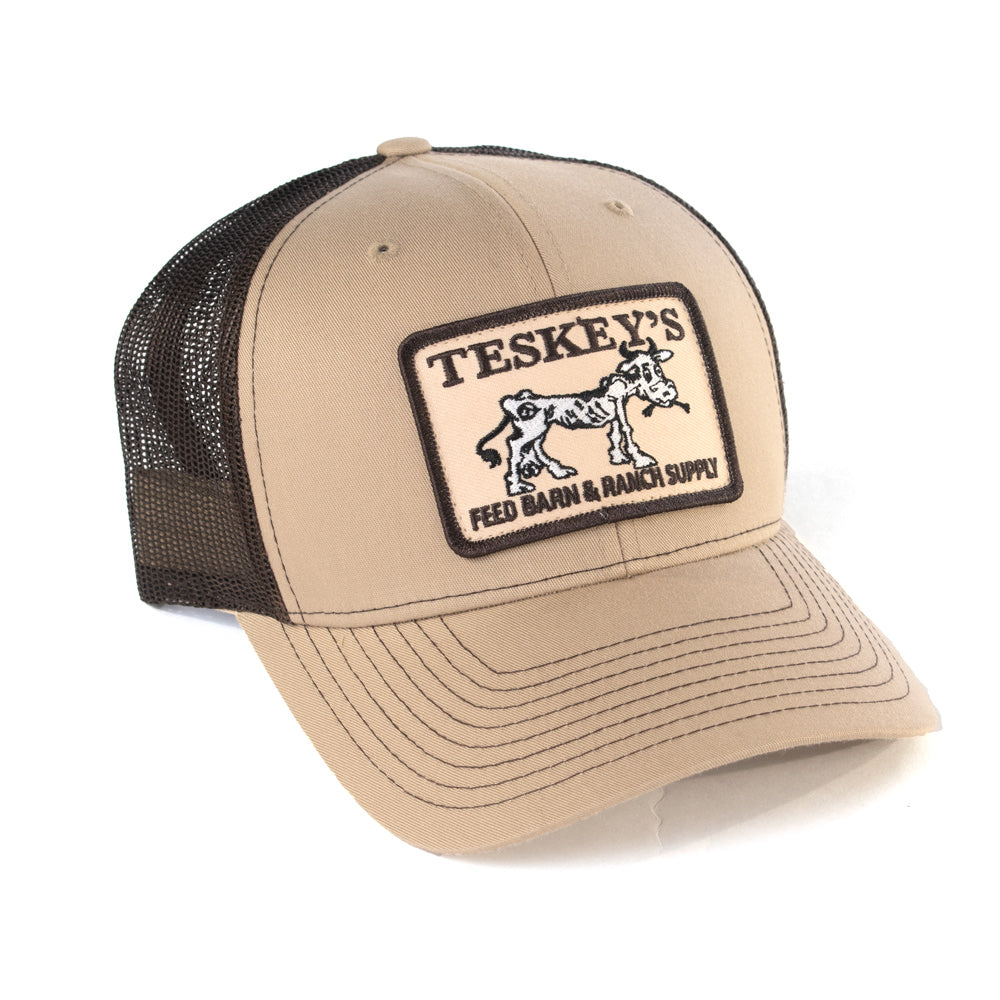 Teskey's Feed Barn Cow Cap - Tan/Chocolate TESKEY'S GEAR - Baseball Caps RICHARDSON Teskeys