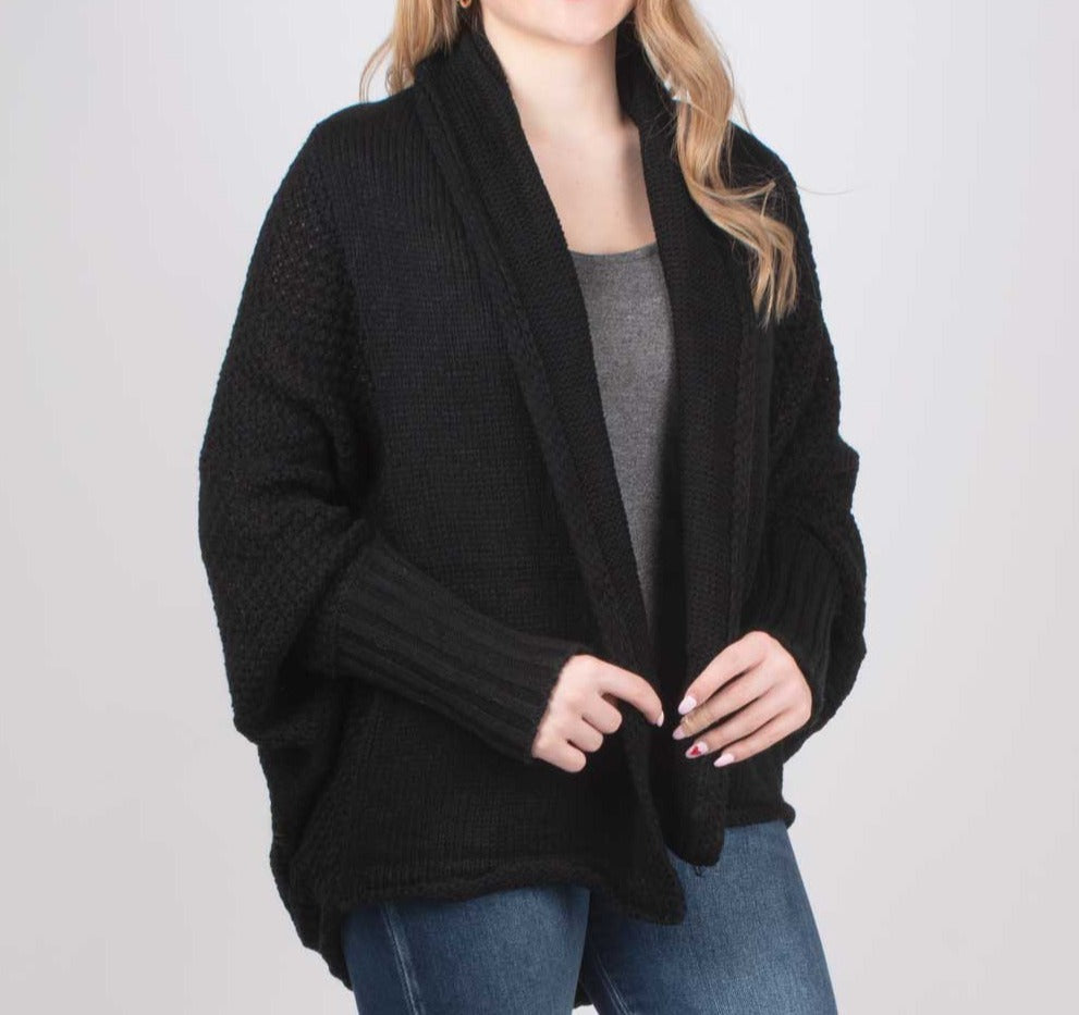 Open Front Black Cardigan WOMEN - Clothing - Sweaters & Cardigans Cloud Walk Teskeys