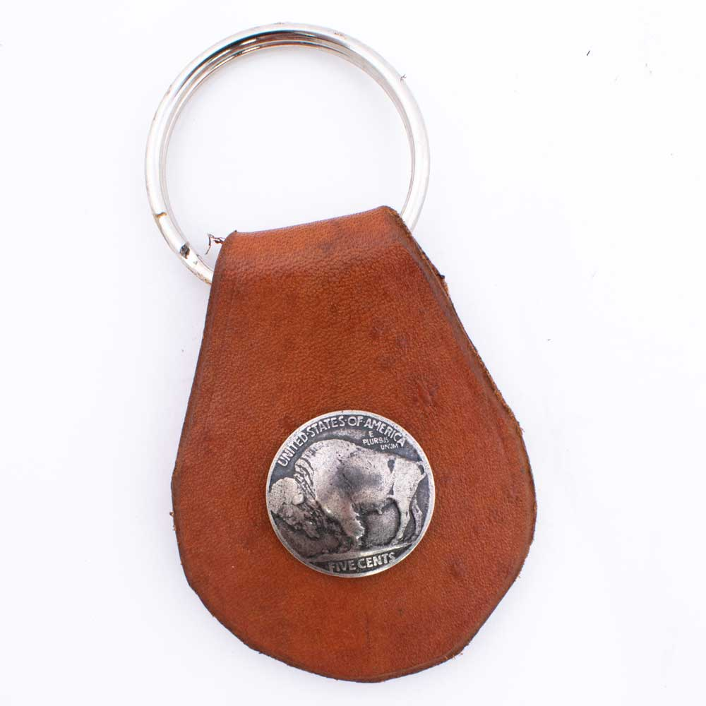 Leather Tab Keyring with Buffalo Nickel ACCESSORIES - Additional Accessories - Key Chains & Small Accessories PEYOTE BIRD DESIGNS Teskeys