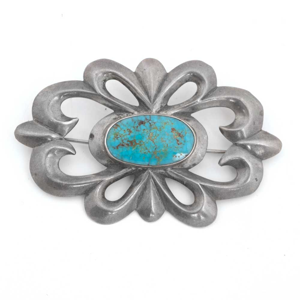 Vintage Sterling Silver Pin with Blue Gem WOMEN - Accessories - Jewelry - Pins & Pendants PEYOTE BIRD DESIGNS Teskeys