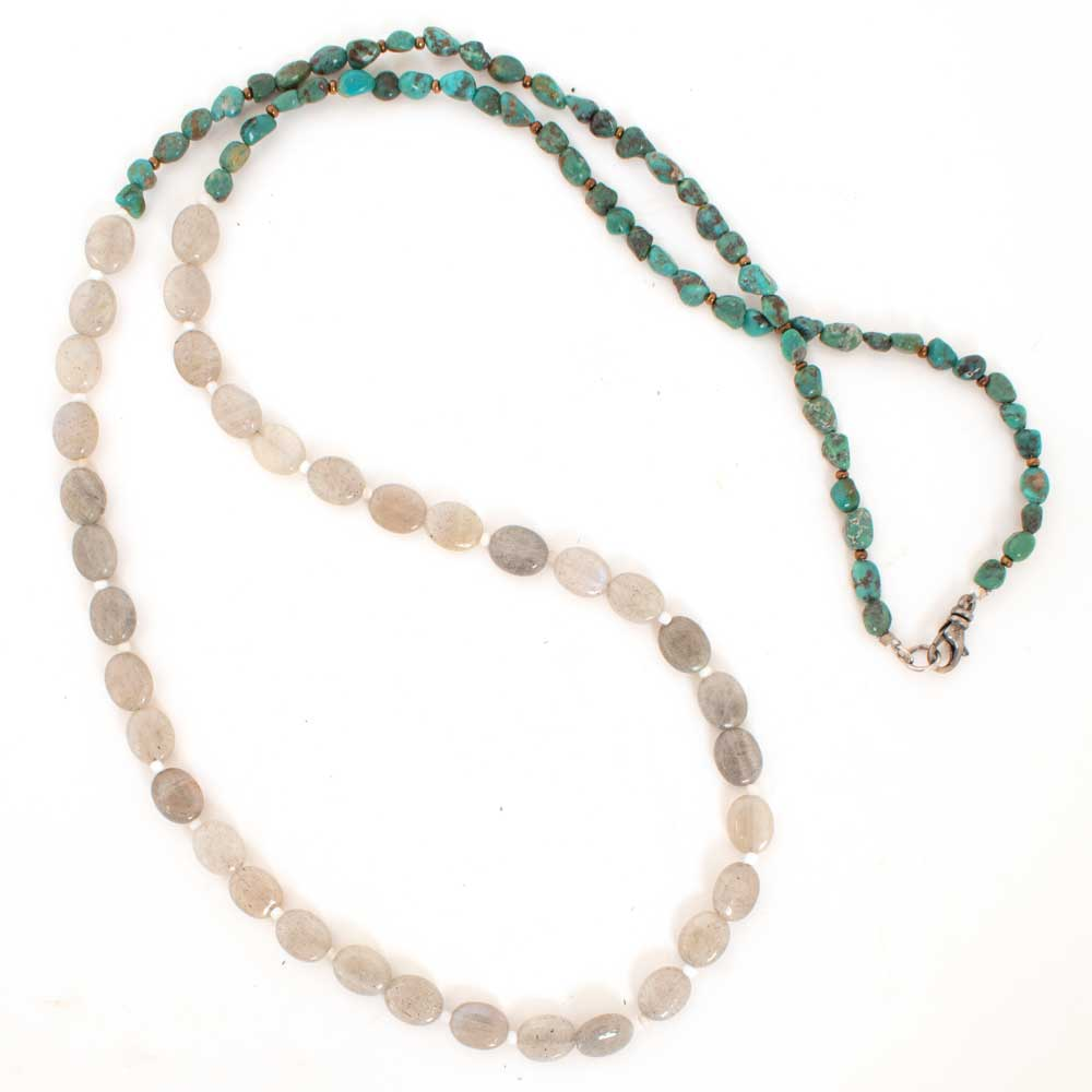 "32"" Turquoise and Labradorite Necklace WOMEN - Accessories - Jewelry - Necklaces Teskeys Teskeys"