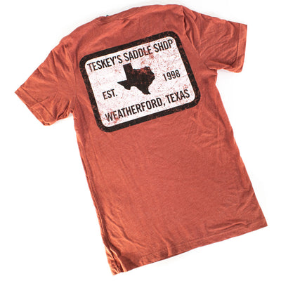 Teskey's 98 Saddle Shop Tee - Clay TESKEY'S GEAR - SS T-Shirts OURAY SPORTSWEAR Teskeys