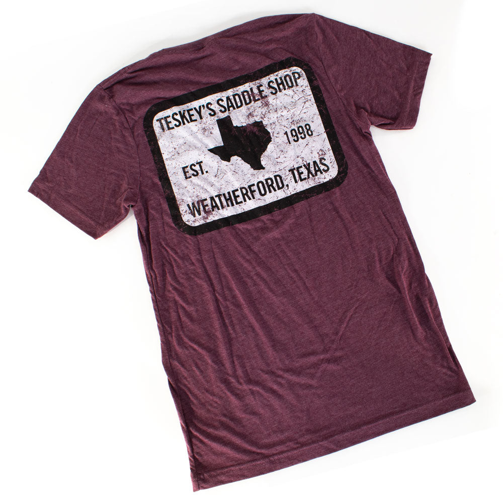 Teskey's 98 Saddle Shop Tee - Maroon TESKEY'S GEAR - SS T-Shirts OURAY SPORTSWEAR Teskeys