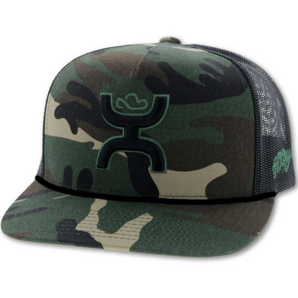 Hooey Black/Green Logo Trucker Camo/Black HATS - BASEBALL CAPS HOOEY Teskeys