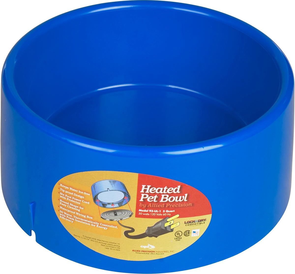 Allied Precision Heated Plastic 5 Quart Pet Bowl Farm & Ranch - Animal Care Teskeys Teskeys
