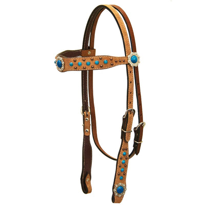 Teskey's Roughout Browband Headstall with Blue Stones Tack - Headstalls Teskey's Teskeys