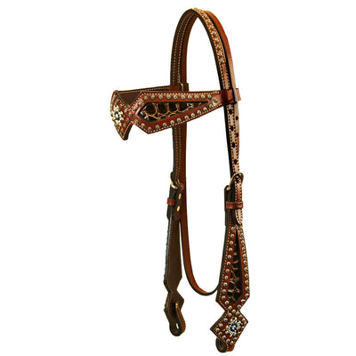 Carved Leather Browband Headstall with Brown Crocodile Inlay