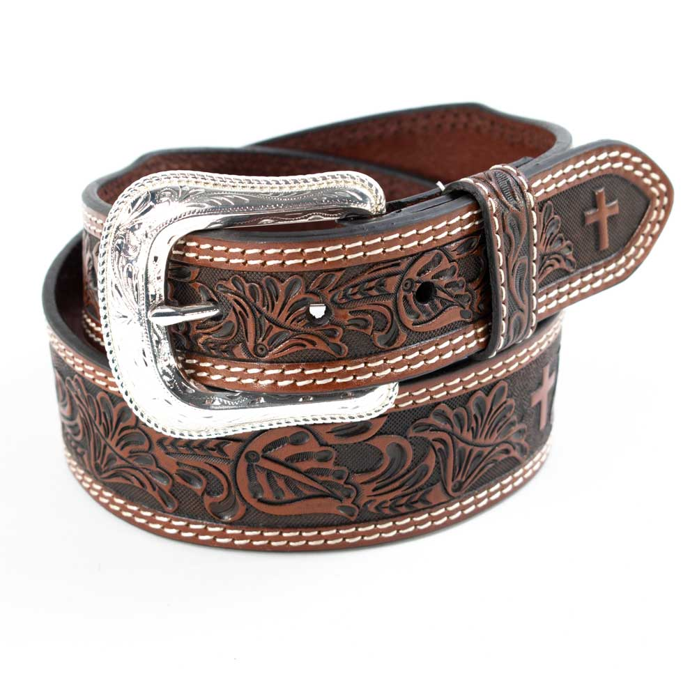 Cowboy Chrome Floral Cross Tooled Belt MEN - Accessories - Belts & Suspenders COWBOY CHROME LEATHER CO Teskeys