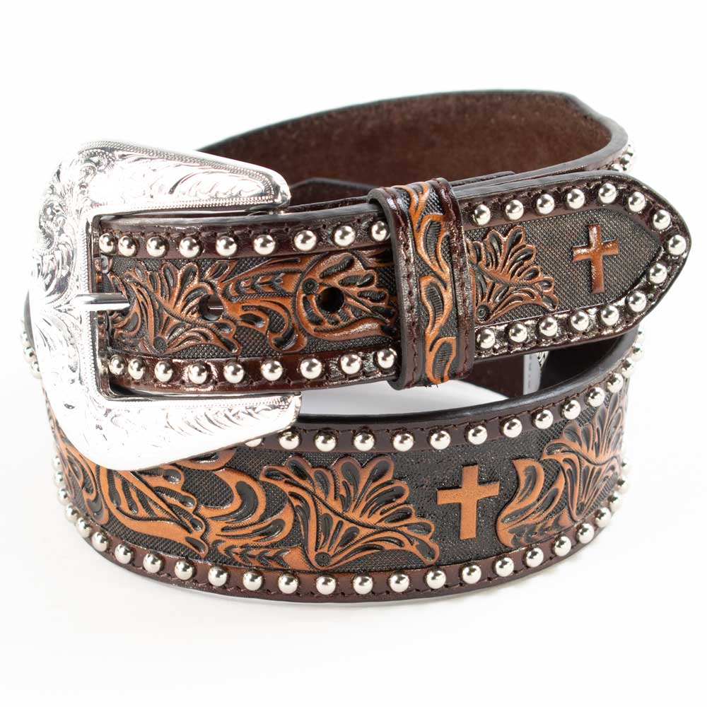 Floral & Cross Tooled Silver Stud Belt MEN - Accessories - Belts & Suspenders COWBOY CHROME LEATHER CO Teskeys