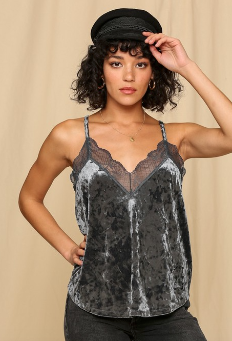 Crushed Velvet Lace Cami WOMEN - Clothing - Intimates & Hosiery BY TOGETHER Teskeys