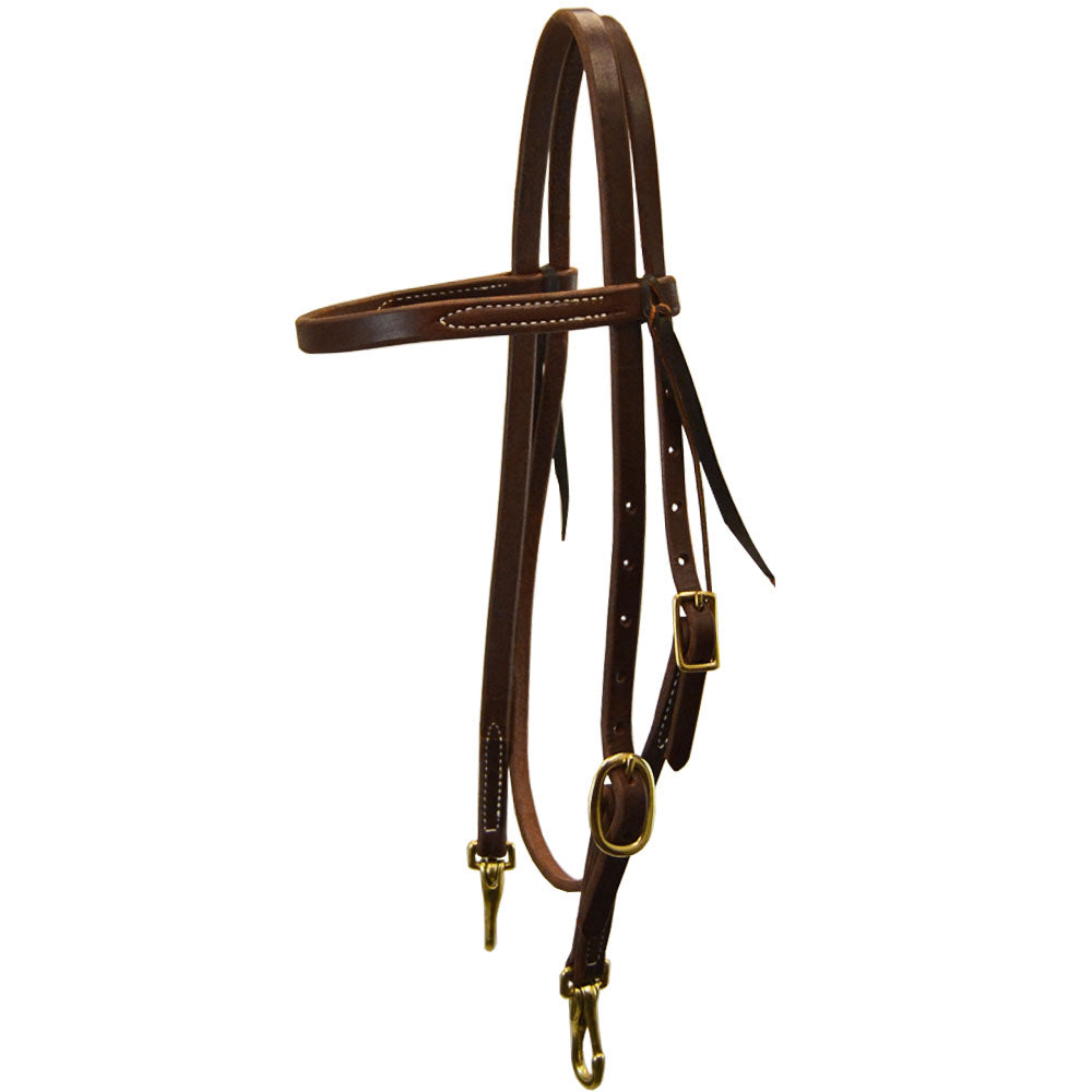 Teskey's Heavy Oil Browband Headstall with Snaps Tack - Headstalls Teskey's Teskeys