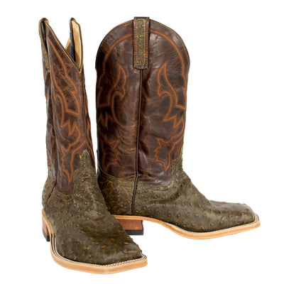 Anderson Bean Antique Saddle Full Quill Ostrich Boot MEN - Footwear - Exotic Western Boots ANDERSON BEAN BOOT CO. Teskeys