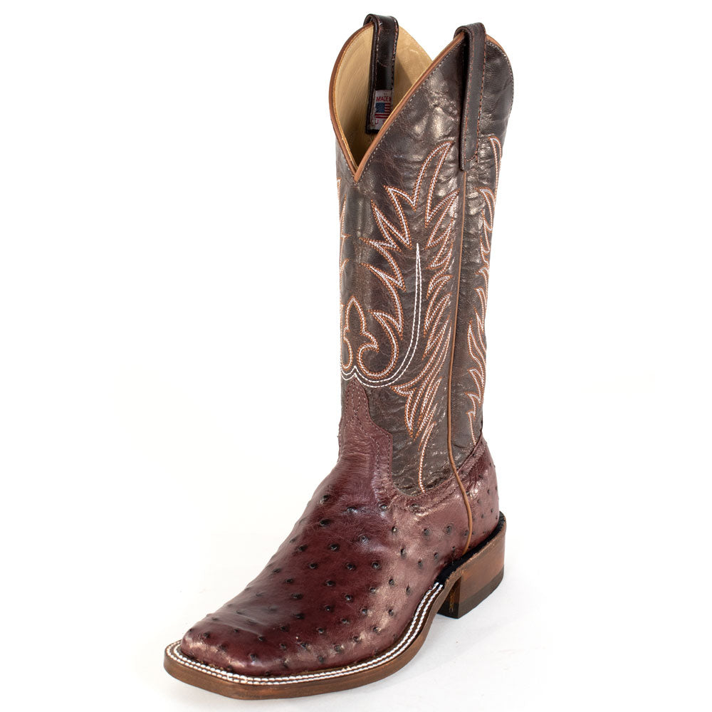 Anderson Bean Bordeaux Full Quill Ostrich Boot MEN - Footwear - Exotic Western Boots ANDERSON BEAN BOOT CO. Teskeys