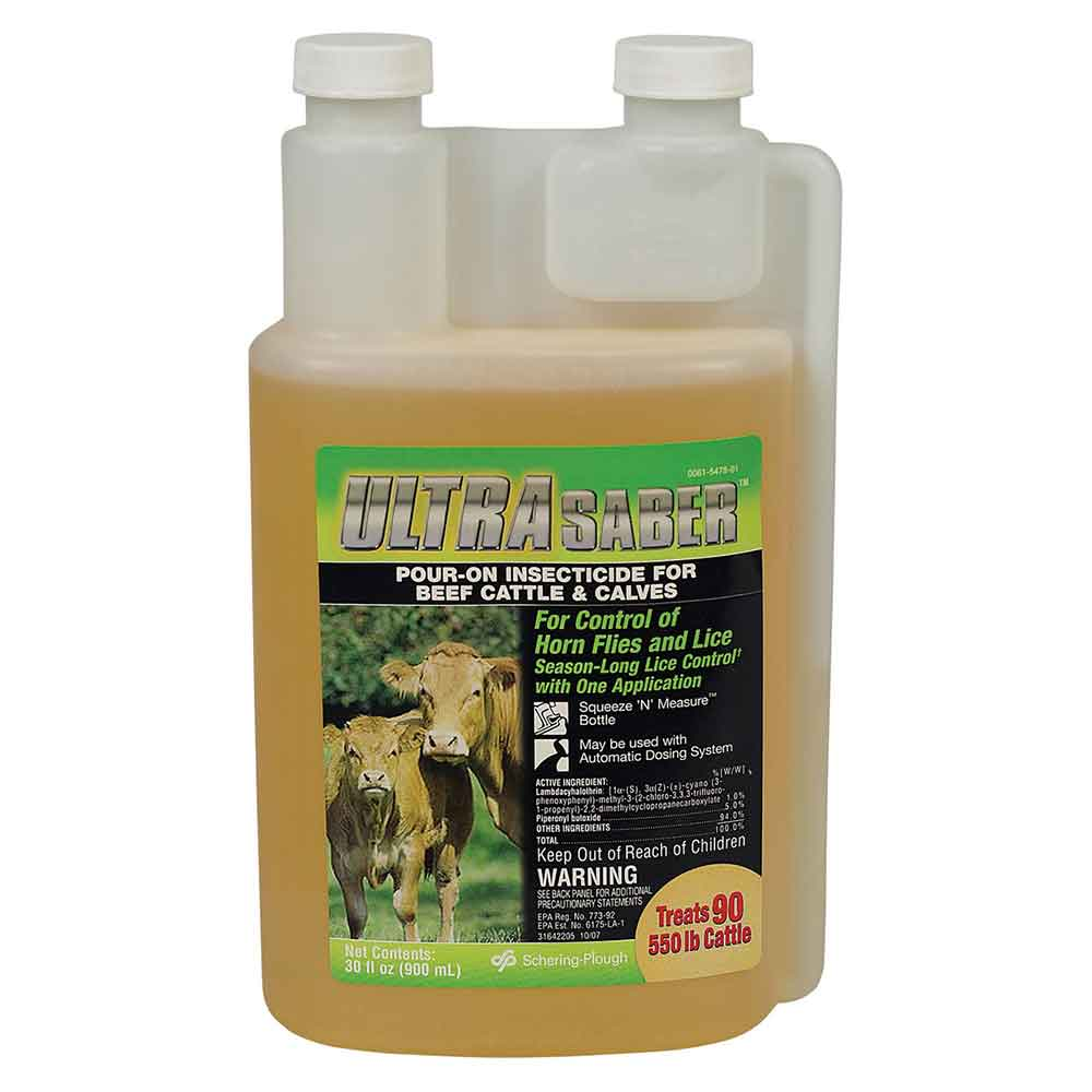 Saber Pour On Insecticide for Beef Cattle and Calves Farm & Ranch - Animal Care - Livestock - Supplements & Medications Teskeys Teskeys