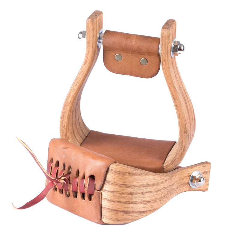 "Don Orrell 3"" Rancher Stained Oak Stirrups Saddles - Saddle Accessories Don Orrell Teskeys"