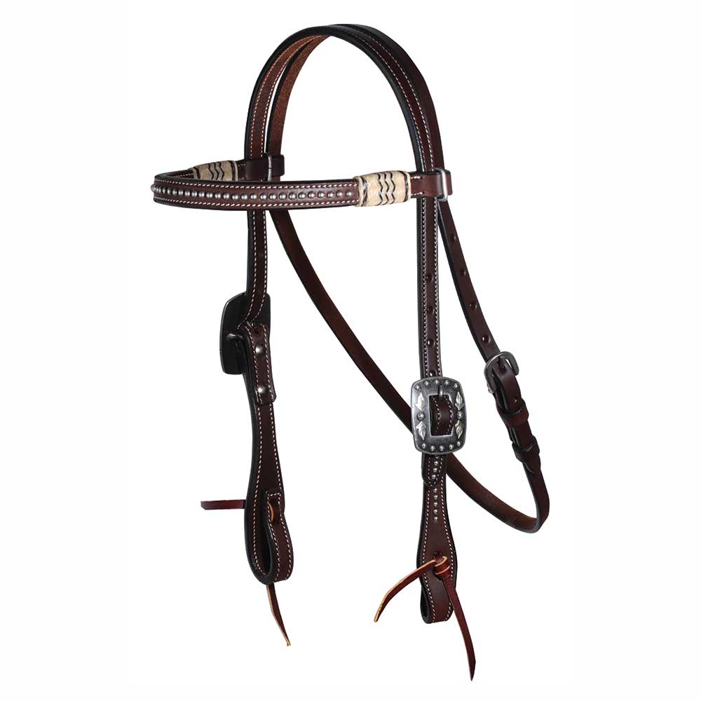Professional's Choice Dotted rawhide Browband Headstall Tack - Headstalls - Browband Professional's Choice Teskeys