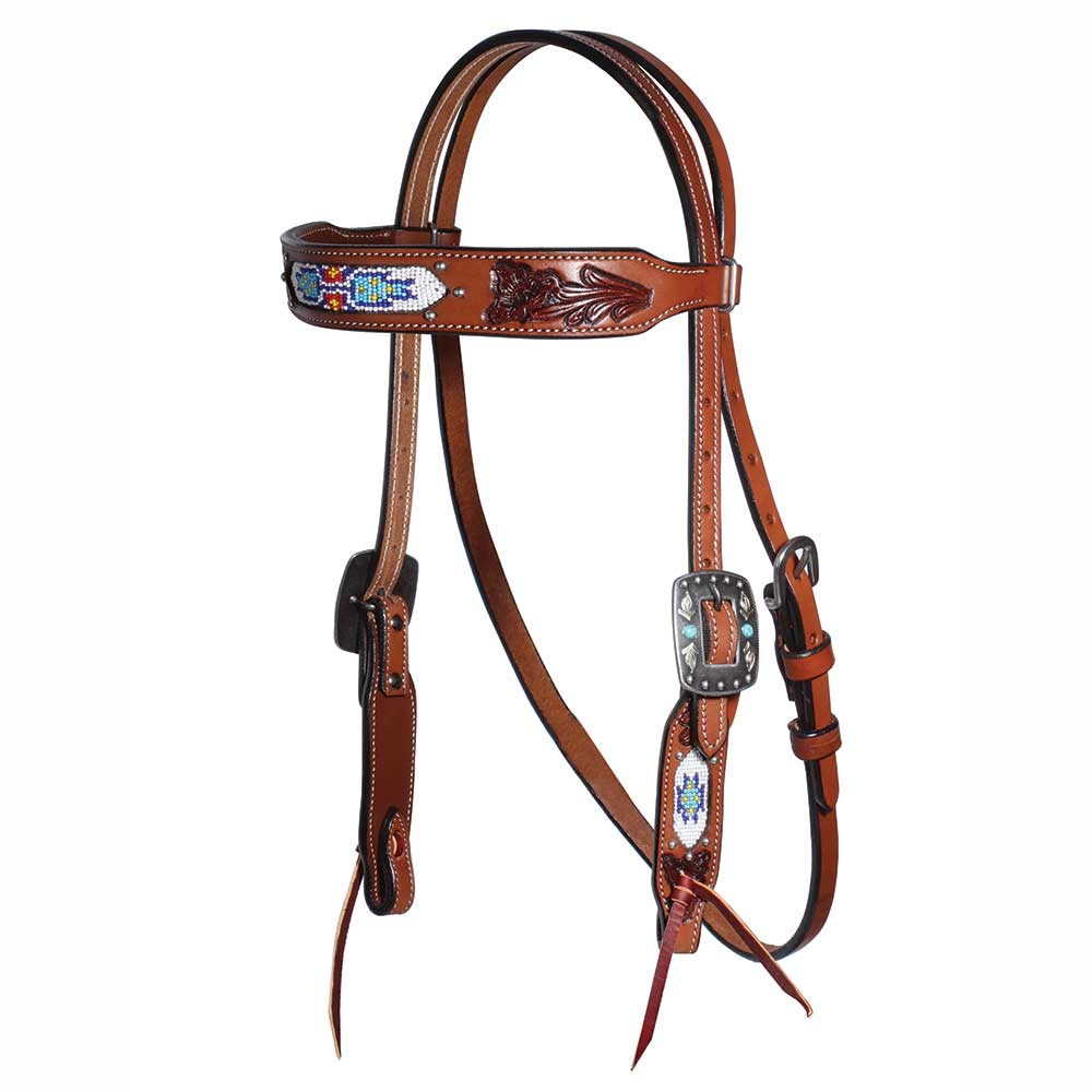 Professional's Choice Natural Leather Beaded Collection Browband Headstall Tack - Headstalls - Browband Professional's Choice Teskeys