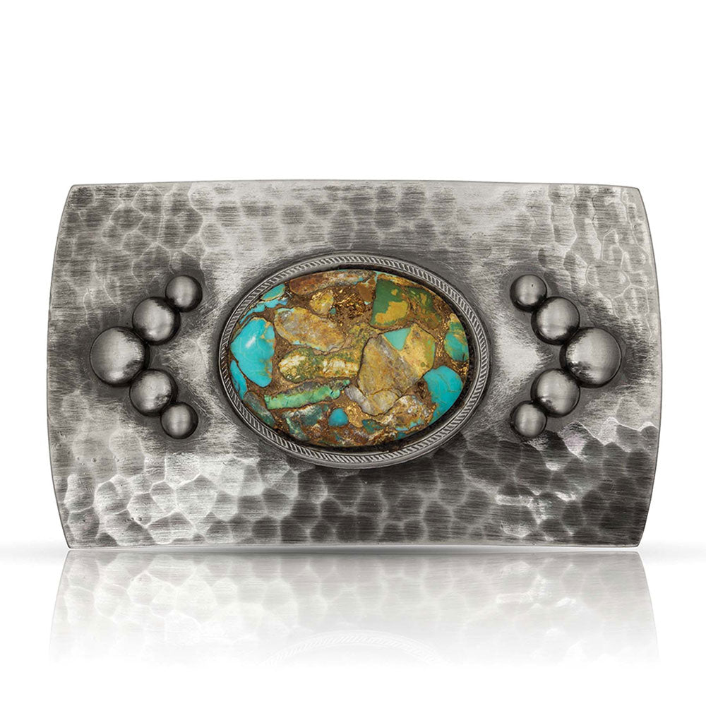 Montana Silversmiths River Rock Cascade Turquoise Buckle ACCESSORIES - Additional Accessories - Buckles Montana Silversmiths Teskeys