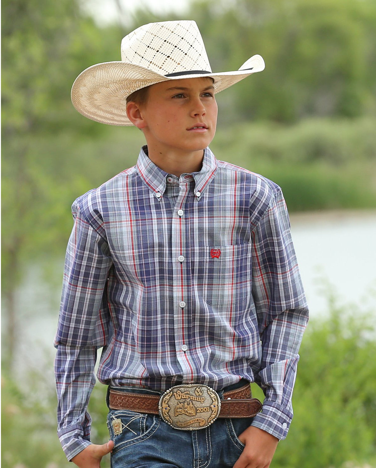 Cinch BLUE AND RED PLAID BUTTON-DOWN WESTERN SHIRT KIDS - Boys - Clothing - Shirts - Long Sleeve Shirts CINCH Teskeys
