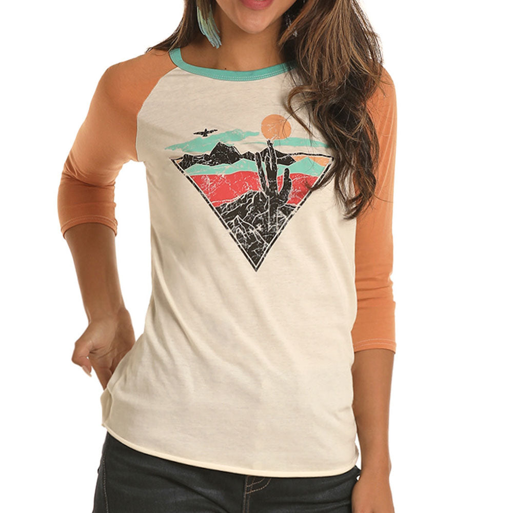 Rock and Roll Women's Cactus Sunset Baseball Tee WOMEN - Clothing - Tops - Long Sleeved Panhandle Teskeys