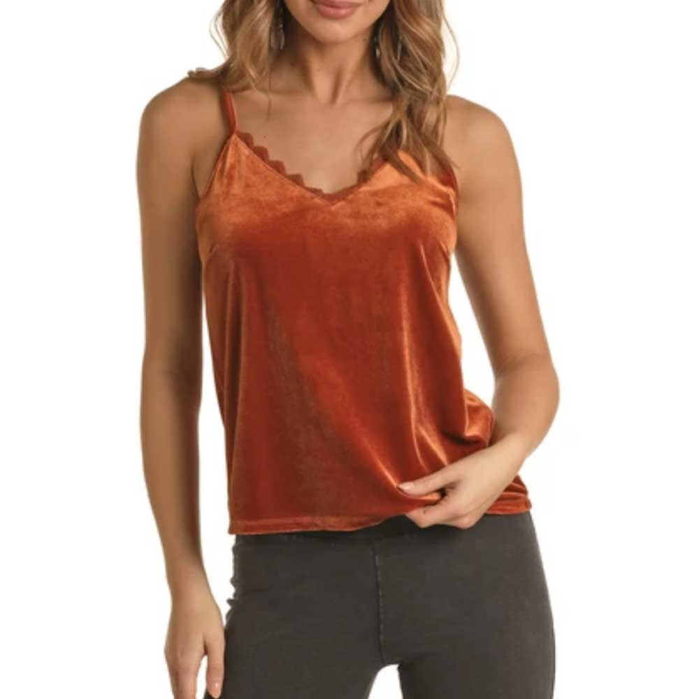 Rock and Roll Cowgirl Jr. Laced Velvet Tank - Rust WOMEN - Clothing - Tops - Sleeveless Panhandle Teskeys