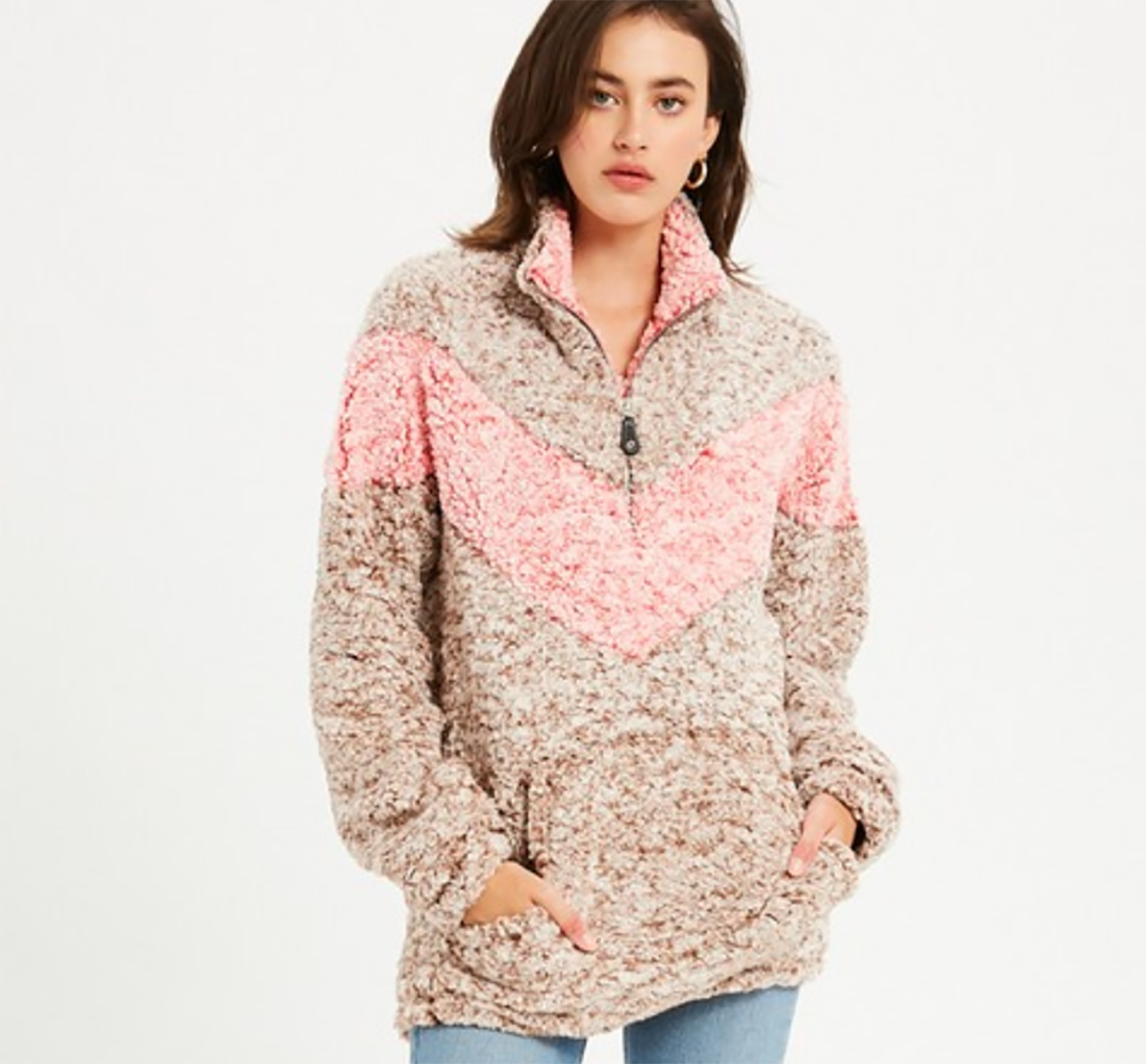 Chevron Sherpa Pullover WOMEN - Clothing - Outerwear - Jackets LA VIDA Teskeys