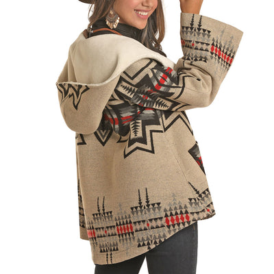 Powder River Outfitters Ladies Jacquard Aztec Wool Cape Coat WOMEN - Clothing - Outerwear - Jackets Panhandle Teskeys