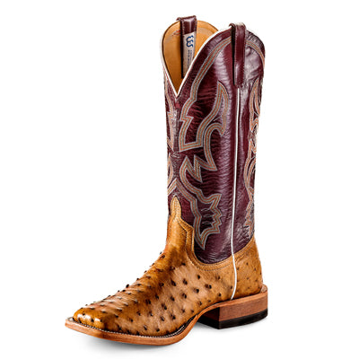 Anderson Bean Antique Saddle FQ Ostrich MEN - Footwear - Exotic Western Boots ANDERSON BEAN BOOT CO. Teskeys