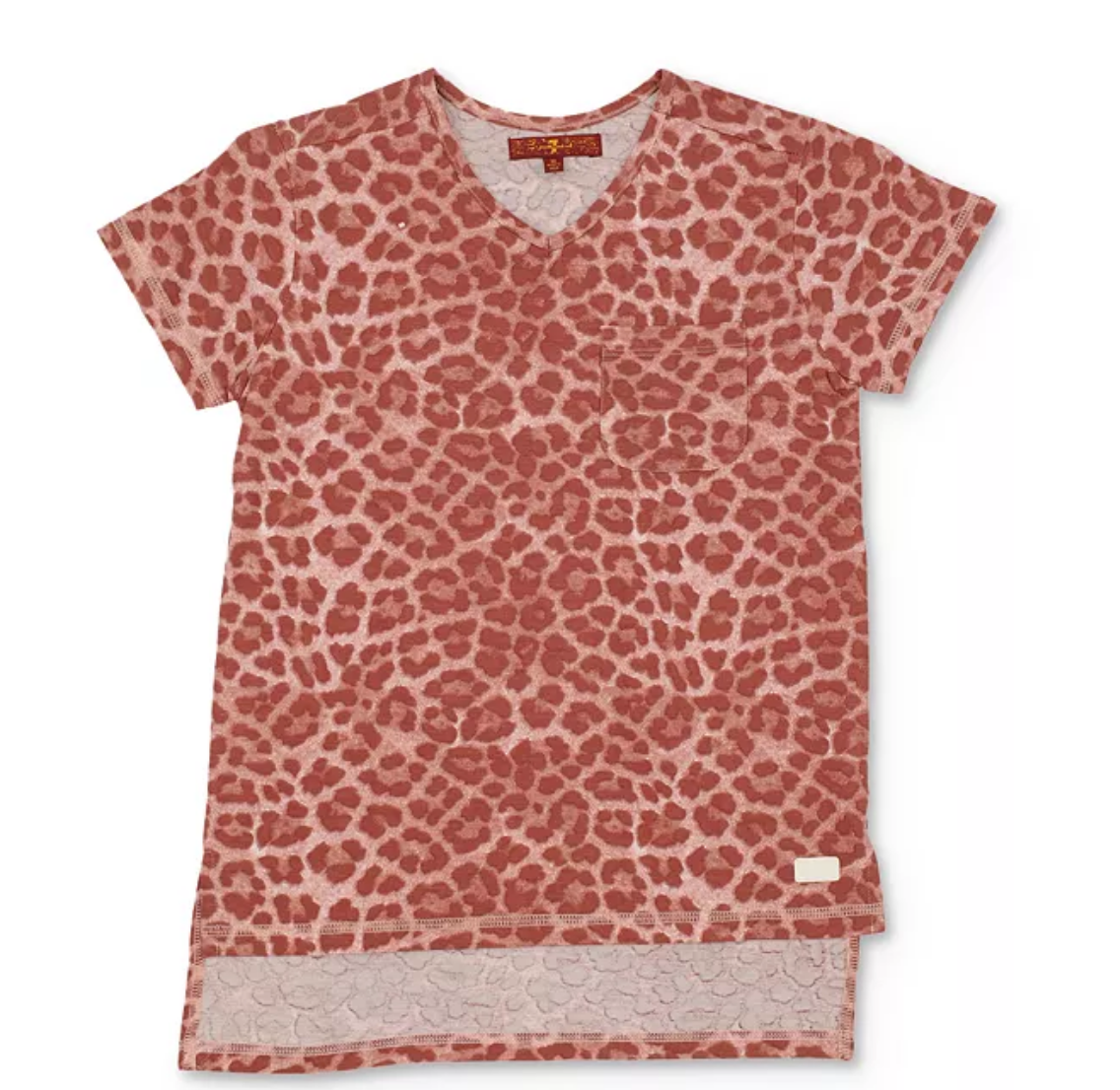 7 For All Mankind Pink Leopard Pocket Tee