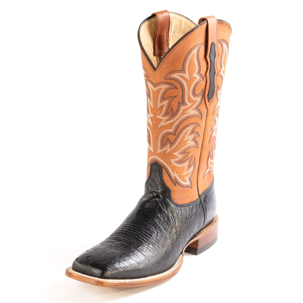 Justin Pascoe Black Smooth Ostrich Boot MEN - Footwear - Exotic Western Boots JUSTIN BOOT CO. Teskeys