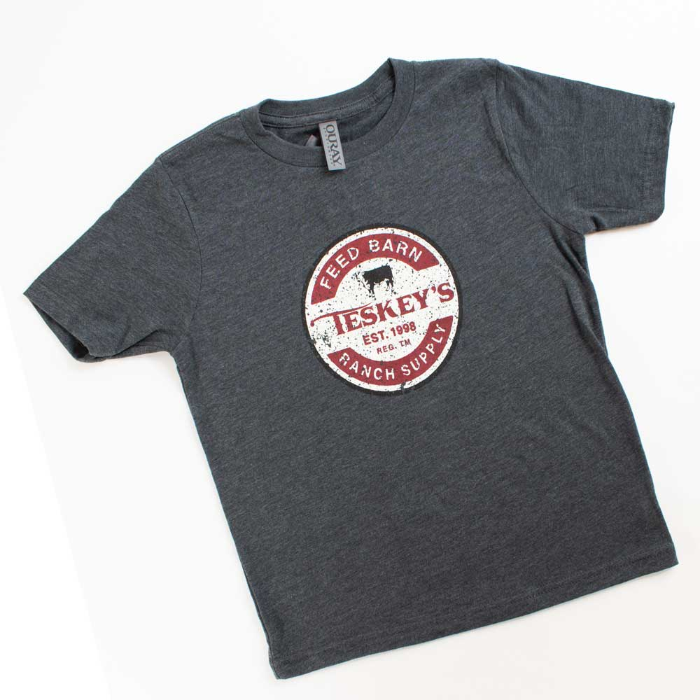 Teskey's Youth Grand National Ranch Barn Logo Tee - Charcoal TESKEY'S GEAR - Youth SS Shirts OURAY SPORTSWEAR Teskeys