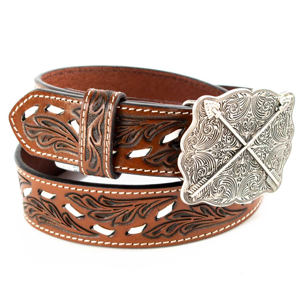 Cowboy Chrome Girls Wavy Buck Stitch Belt KIDS - Accessories - Belts COWBOY CHROME LEATHER CO Teskeys