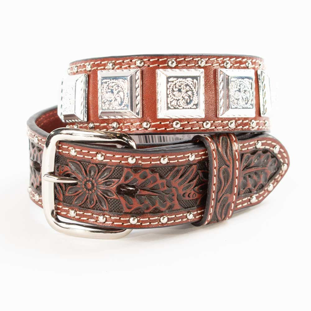 Cowboy Chrome Kids Square Concho Belt KIDS - Accessories - Belts COWBOY CHROME LEATHER CO Teskeys