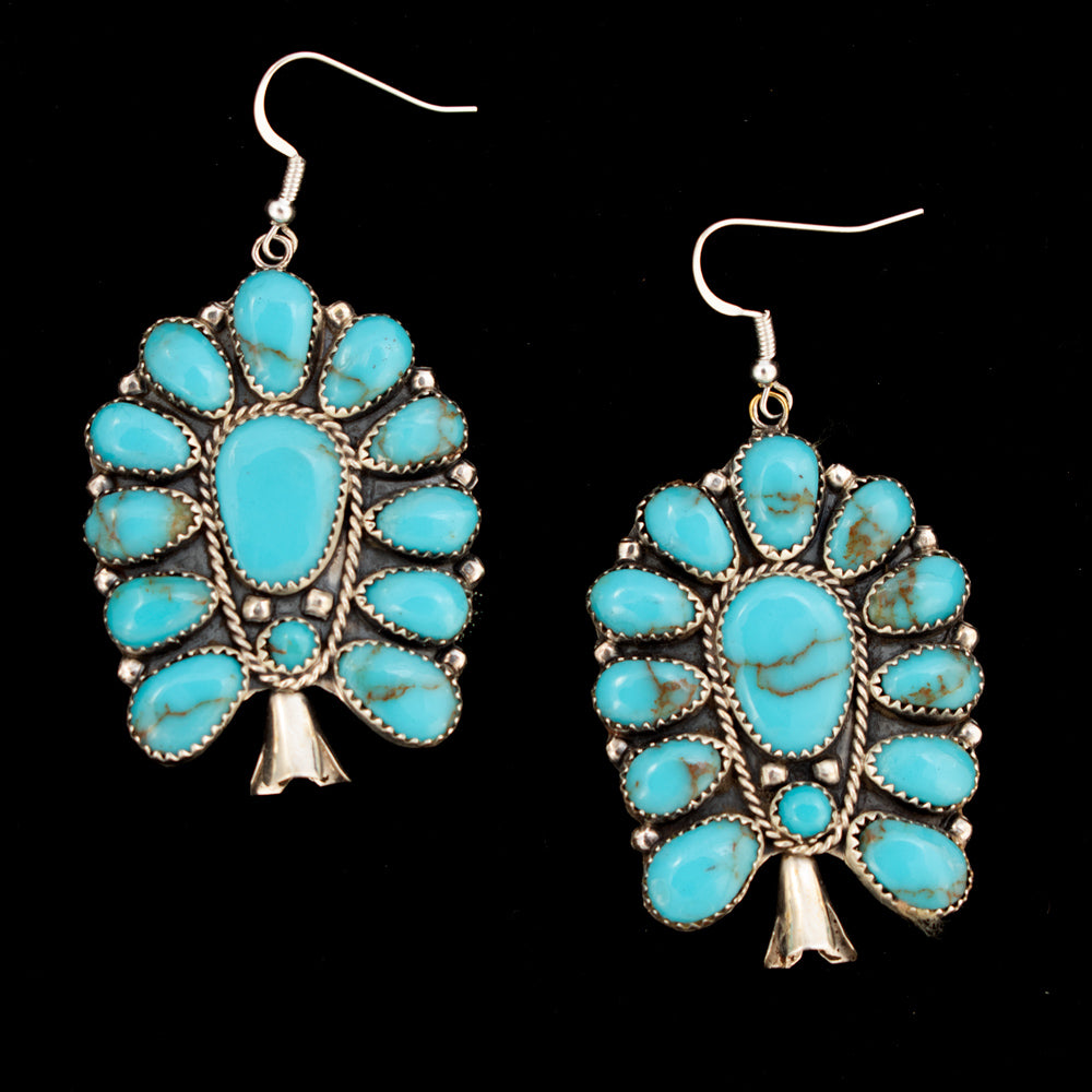 Large Turquoise Cluster Blossom Earrings WOMEN - Accessories - Jewelry - Earrings AL ZUNI Teskeys