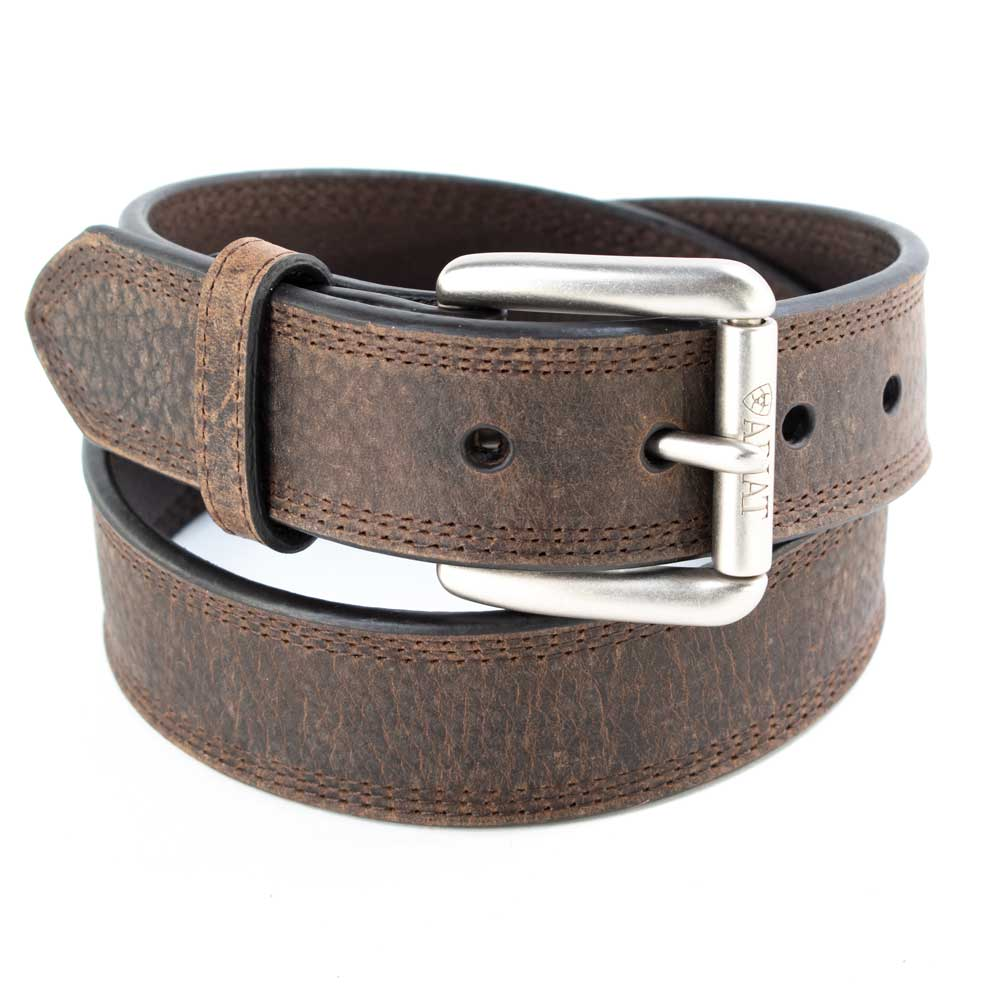 Ariat Men's Triple Stitch Brown Belt MEN - Accessories - Belts & Suspenders M&F Western Products Teskeys