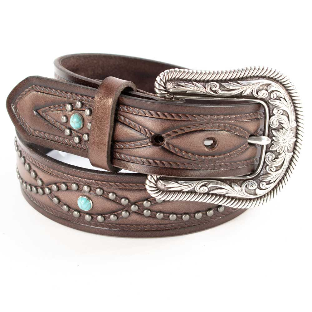 Ariat Brown Turquoise Beaded Belt WOMEN - Accessories - Belts M&F Western Products Teskeys