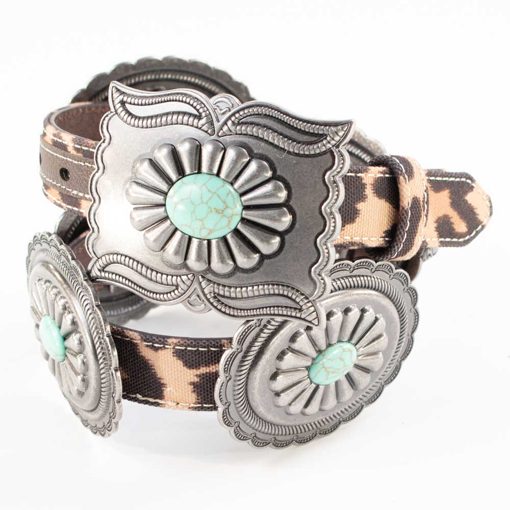 Ariat Leopard Print Turquoise Concho Belt WOMEN - Accessories - Belts M&F Western Products Teskeys