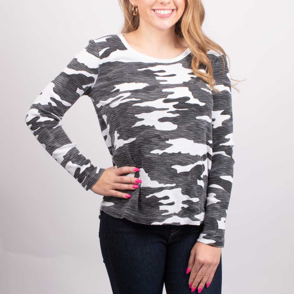 Dylan Camo Waffle Top WOMEN - Clothing - Tops - Long Sleeved DYLAN Teskeys