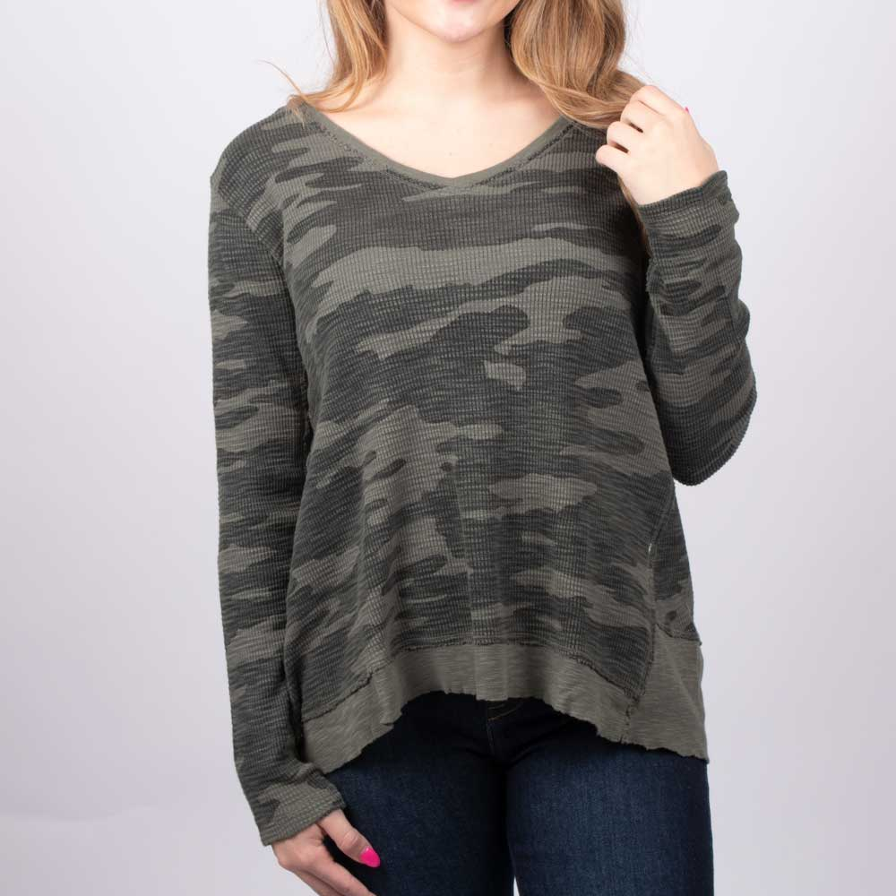 Dylan Camo Waffle Deep V-Neck Top WOMEN - Clothing - Tops - Long Sleeved DYLAN Teskeys