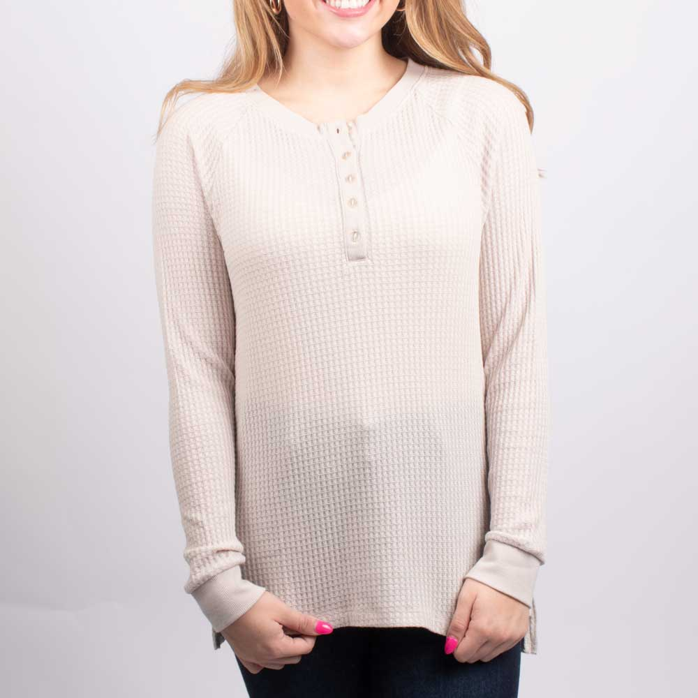 Dylan Brushed Cabin Henley Top WOMEN - Clothing - Tops - Long Sleeved DYLAN Teskeys