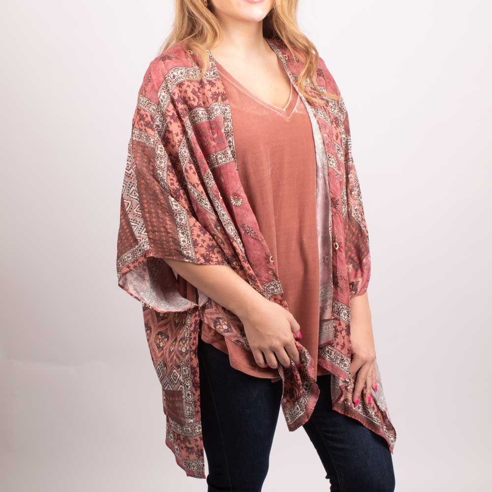 Dylan Faded Bandana Red Kimono WOMEN - Clothing - Tops - Short Sleeved DYLAN Teskeys