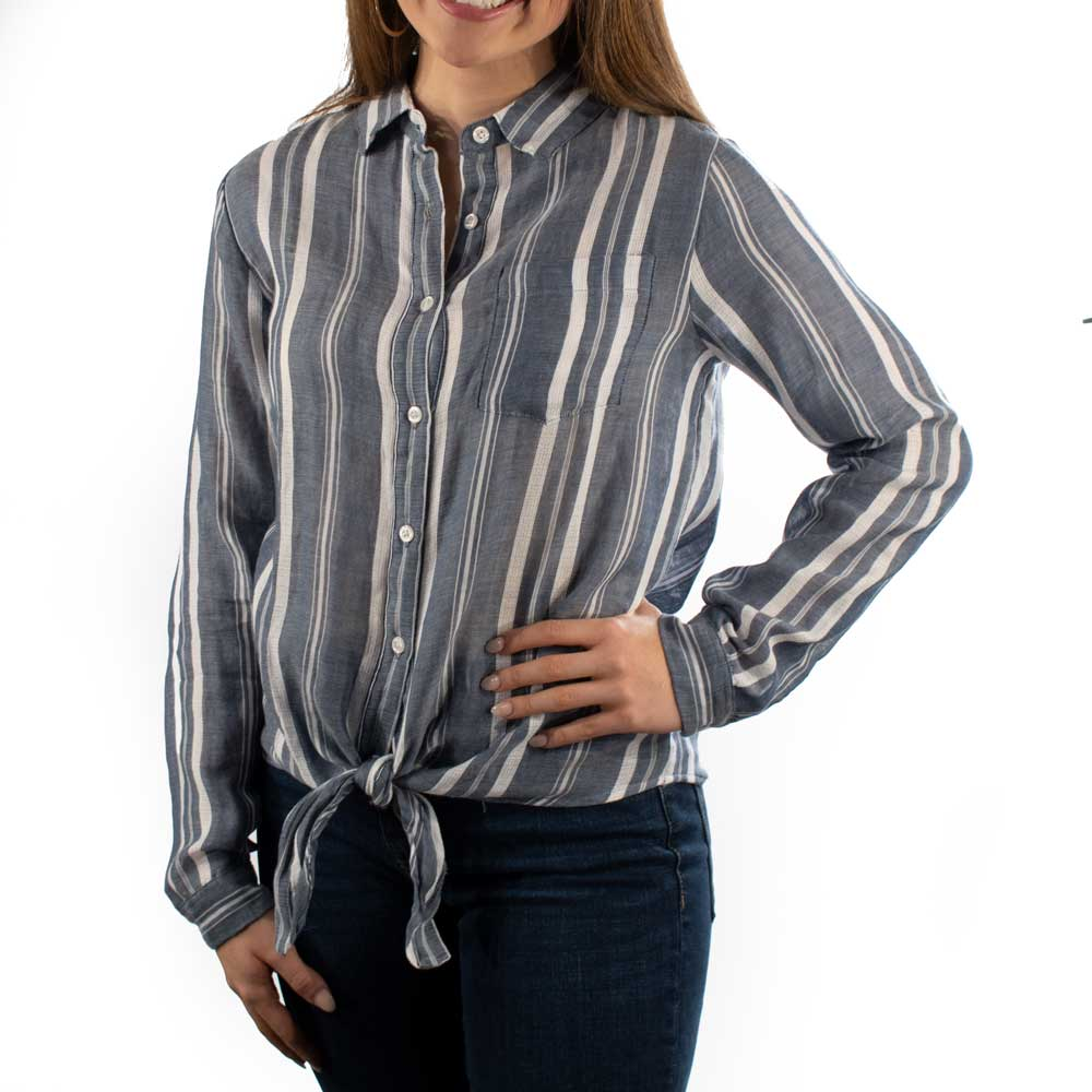 Dylan Woven Stripe Tie Top WOMEN - Clothing - Tops - Long Sleeved DYLAN Teskeys