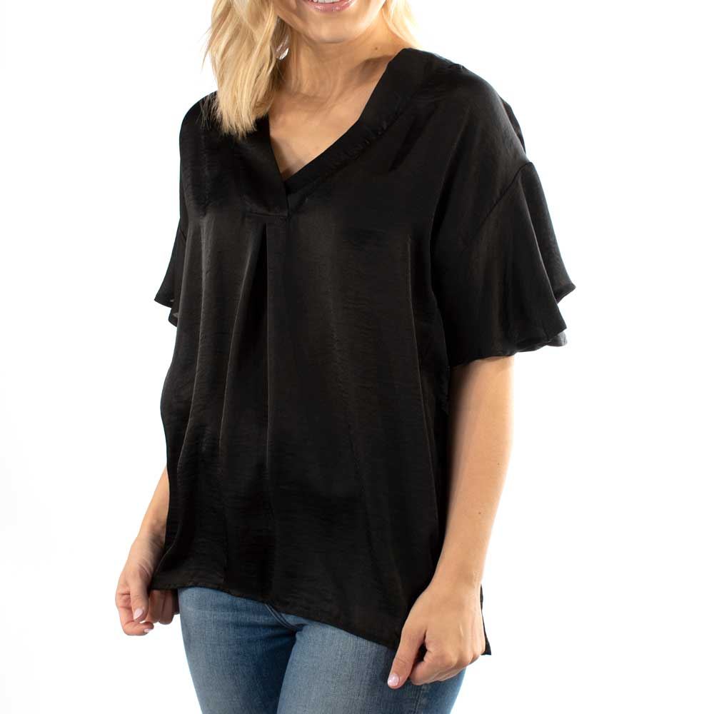 Aunt Wanda V-Neck Box Pleat Blouse WOMEN - Clothing - Tops - Short Sleeved AUNT WANDA Teskeys