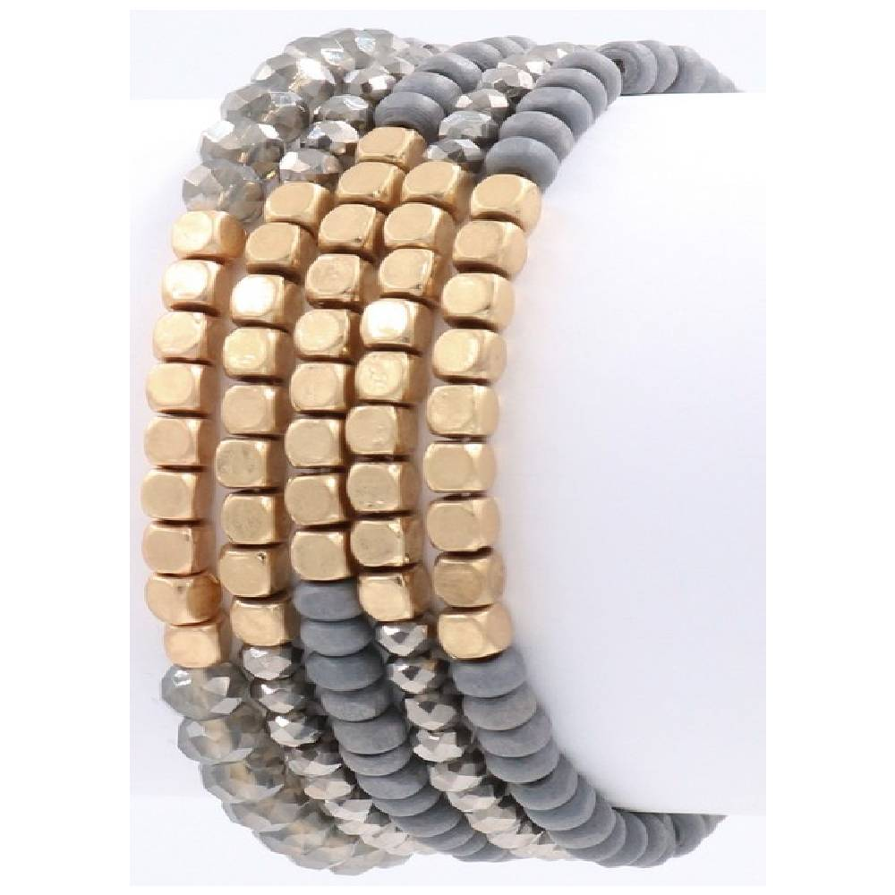 5 Piece Grey Bracelet Set WOMEN - Accessories - Jewelry - Bracelets ARTBOX JEWEL Teskeys
