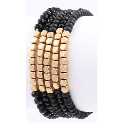 Black 5 Piece Bracelet Set WOMEN - Accessories - Jewelry - Bracelets ARTBOX JEWEL Teskeys