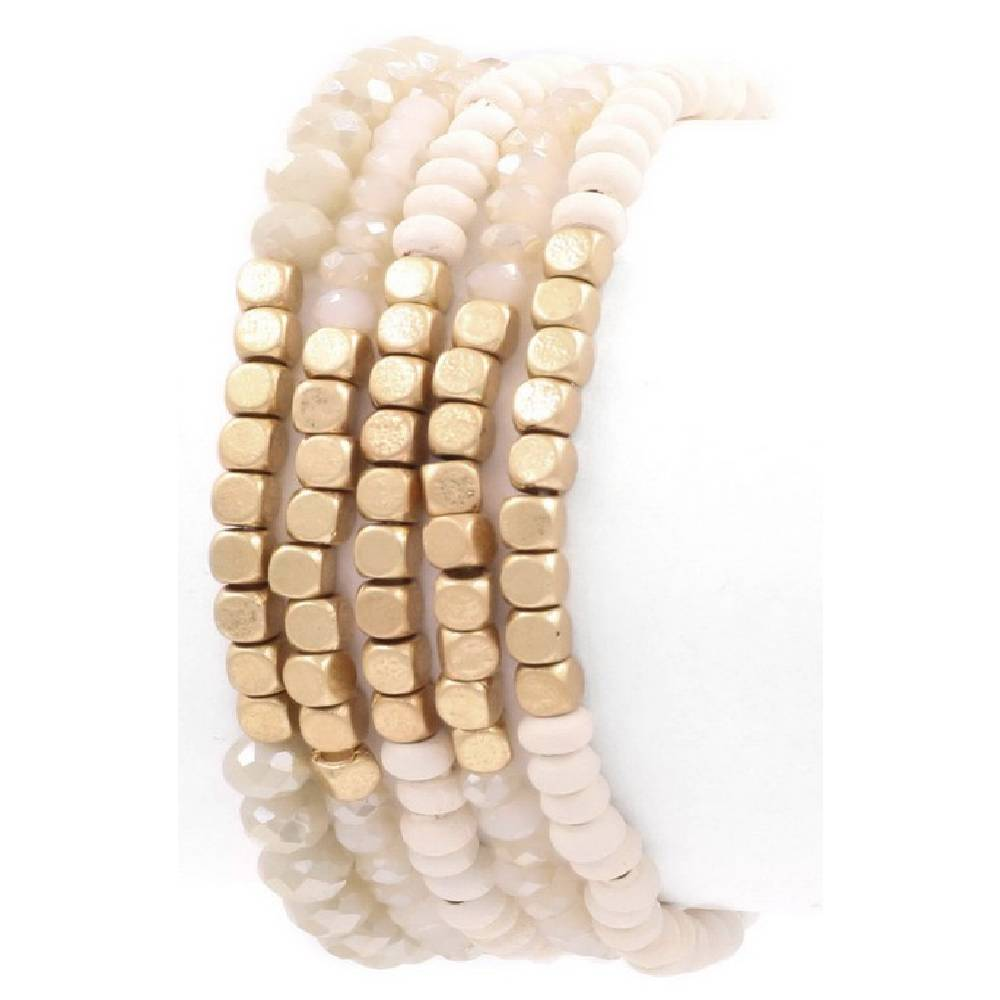 White 5 Piece Bracelet Set WOMEN - Accessories - Jewelry - Bracelets ARTBOX JEWEL Teskeys